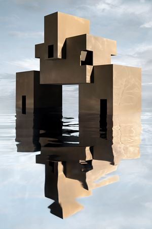 Brutalist House on Water by James Casebere contemporary artwork