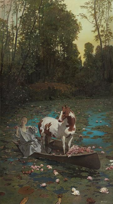 River Crossing with Horse 渡馬圖 by Wei Dong contemporary artwork