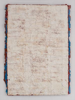 Edges and Residues 08 - White on Sienna and Cerulean Blue 01 by Kanchana Gupta contemporary artwork