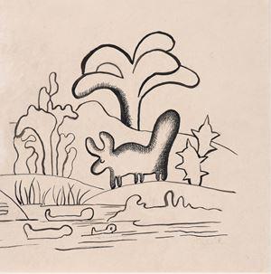 Boi na paisagem by Tarsila Do Amaral contemporary artwork