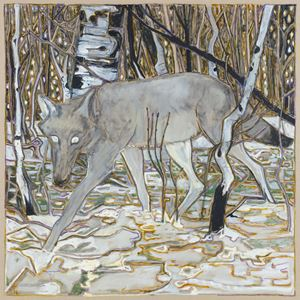 wolf in birch trees by Billy Childish contemporary artwork