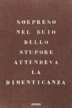 Ritratto di uomo - Sorpreso nel buio dello stupore attendeva la dimenticanza by Vincenzo Agnetti contemporary artwork