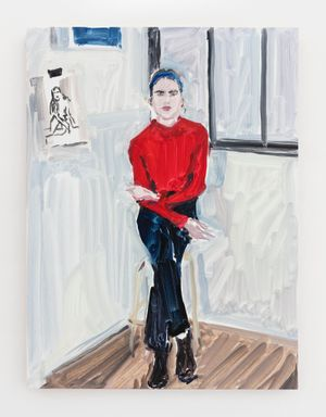 Lomane in red sweater by Jean-Philippe Delhomme contemporary artwork