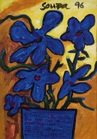 Still Life with Flowers by F. N. Souza contemporary artwork works on paper