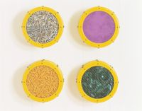 Small  Yellow  Catalog: Cigarettes,  Purple  Pigment, Cheese  Doodles,  Broken Glass by Ashley Bickerton contemporary artwork mixed media