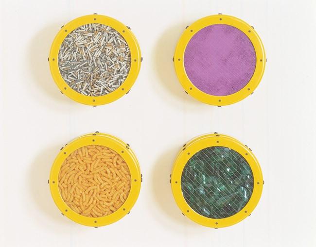 Small  Yellow  Catalog: Cigarettes,  Purple  Pigment, Cheese  Doodles,  Broken Glass by Ashley Bickerton contemporary artwork
