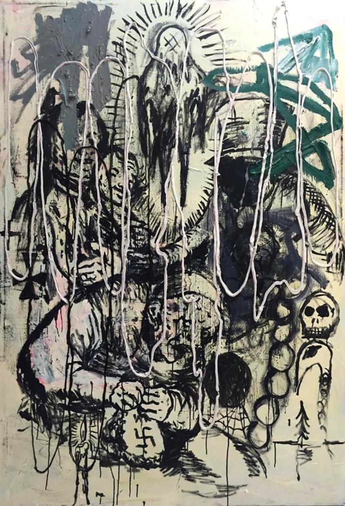 Image: Manuel Ocampo and Jigger Cruz, Brown Dada: Series Goya 5, 2016. 104 x 103 cm. Courtesy of The Drawing Room, Manila.