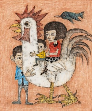 Chicken with family 14-1 by Yim Man-Hyeok contemporary artwork