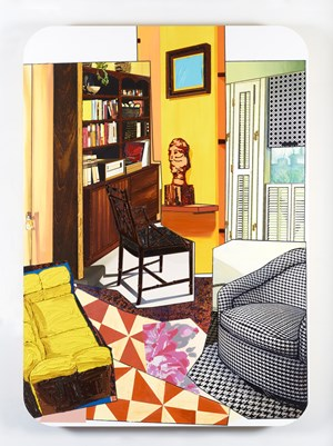 Interior: Two Chairs and One Yellow Couch by Mickalene Thomas contemporary artwork