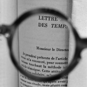 Sartre's glasses—Viewing a letter by Albert Camus addressed to Sartre when he was the director of Les Temps Modernes by Tomoko Yoneda contemporary artwork