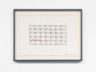 Des Hughs,April (2020). Cotton cross-stitch on linen. 38 cm x 53 cm. Courtesy Buchmann Galerie, Berlin.