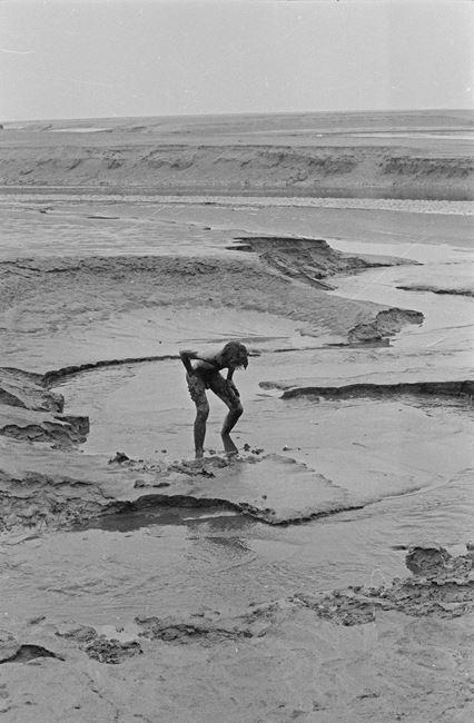 Black sand, Morecambe Bay, Lancashire, October 1976 by Andy Goldsworthy contemporary artwork