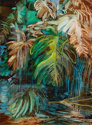 Monstera (yellow) by Adrienne Gaha contemporary artwork