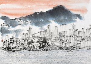 Below the Victoria Peak, Hong Kong by Hung Hoi contemporary artwork