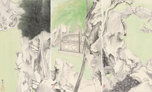 Mountain Villa with Embracing Beauty by Luo Ying contemporary artwork