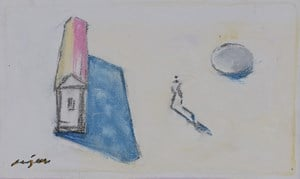 man between a house and a coin by C. K. Rajan contemporary artwork
