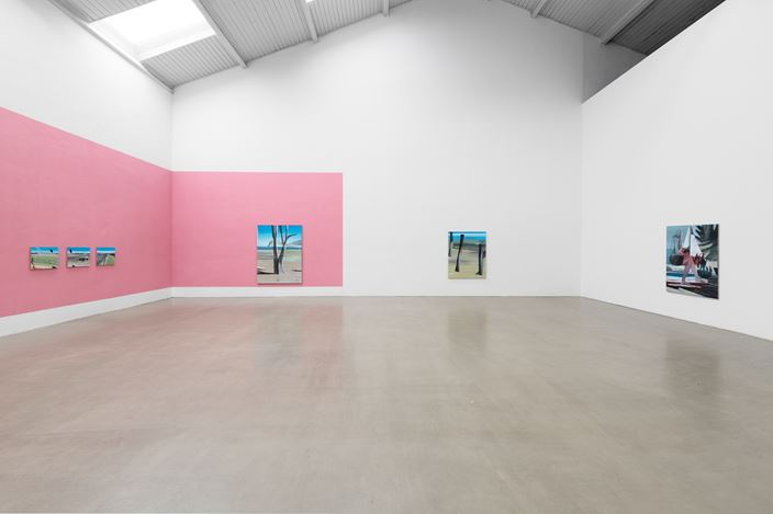 Exhibition view: Marc Desgrandchamps, Die blaue Stunde, Galerie EIGEN + ART, Leipzig (18 May–22 June 2019). Galerie EIGEN + ART, Leipzig. Photo: Uwe Walter.