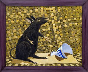 Rat and partially buried goblet by Derek Cowie contemporary artwork