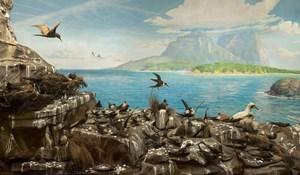 Sea Bird Colony, Admiralty Rocks with calm seas, Lord Howe Island by Anne Zahalka contemporary artwork