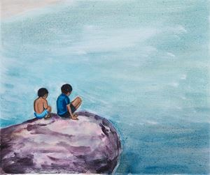 Boys on a Rock by Matthew Krishanu contemporary artwork