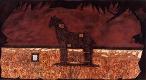 Trojan horse and one lakh ten thousand conversations by Abul Hisham contemporary artwork