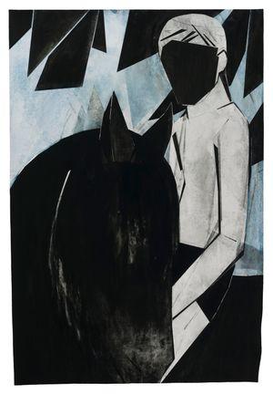 Black horse by Iris Schomaker contemporary artwork