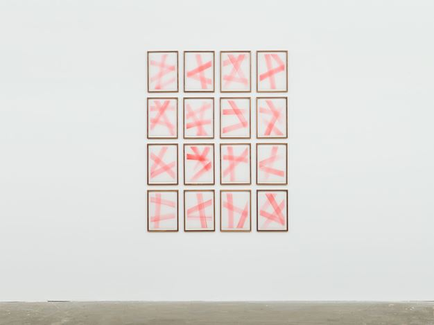 Rana Begum,No. 778 (2018).Paint on tracing paper in sixteen (16) parts.13 3/4 x 10 5/8 x 1 1/8 inches (each). Courtesy David Zwirner.