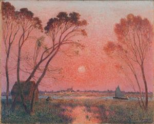 Barque sur la Brière au crépuscule by Ferdinand du Puigaudeau contemporary artwork
