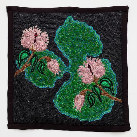 Tina Girouard, Pink Floral (Lillypad), Undated (1990s). Sequins and beads on fabric. 89.09 cm x 88.9 cm. Courtesy Anat Ebgi, Mid Wilshire/Culver City.