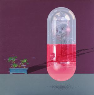 骷髏困在膠囊裡Skeleton Trapped in a Capsule by Kuo Chwen contemporary artwork
