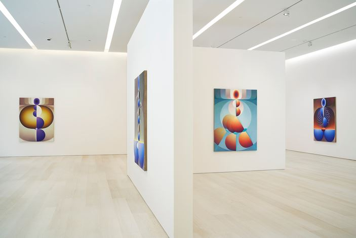 Exhibition view: Loie Hollowell, Plumb Line, Pace Gallery, New York (14 September–19 October 2019). Courtesy Pace Gallery.