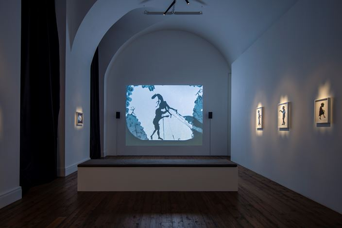Exhibition view: Kara Walker, From Black and White to Living Color: The Collected Motion Pictures and Accompanying Documents of Kara E. Walker, Artist.,Spruth Mägers, London (4 October–21 December 2019).Courtesy Sprüth Magers. Photo:Voytek Ketz.