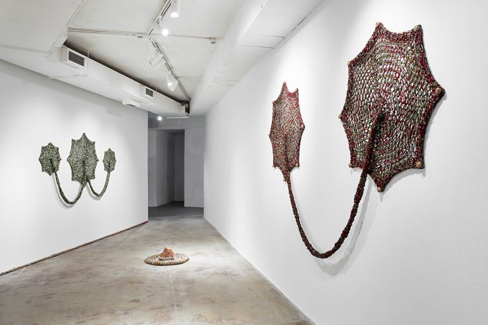 Exhibition view: Ernesto Neto, One Day We Were All Fish and The Earth's Belly, Goodman Gallery, Johannesburg (24 November 2018–19 January 2019). Courtesy the artist and Goodman Gallery.