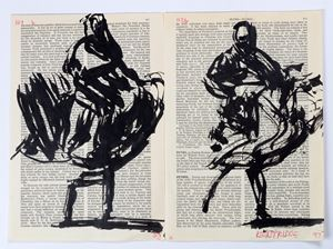 Drawing for Sibyl (Two dancers, Petrel) by William Kentridge contemporary artwork works on paper