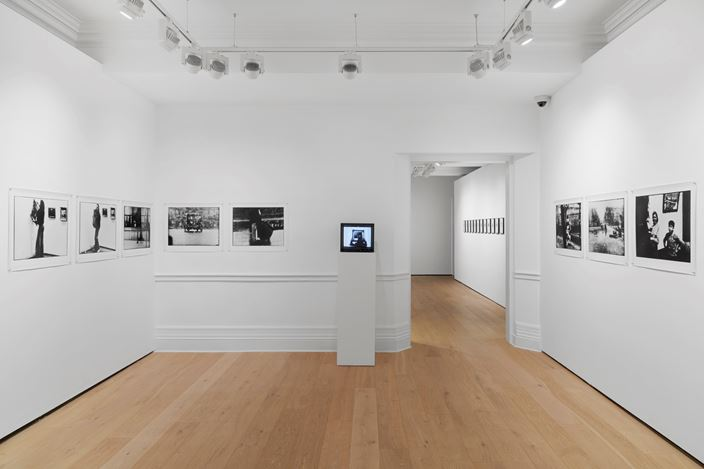 Ulay,Irritation - There is a Criminal Touch to Art(1976). Set of 11 analogue Baryta prints with film, printed 2018; single channel video, 16 mm film transferred to digital, B&W, sound. Each print 61.5 x 45 cm. Courtesy ULAY Foundation, LIMA, Amsterdam and Richard Saltoun Gallery, London.