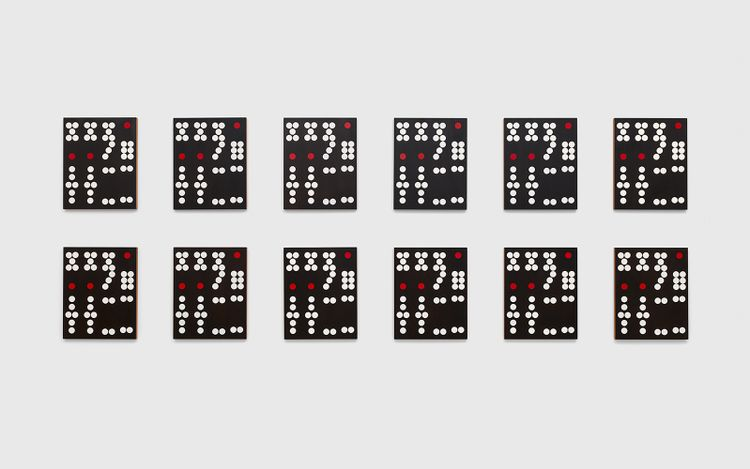 Exhibition view: Sherrie Levine,Hong Kong Dominoes: 1–12 (2017). © Sherrie Levine. Courtesy the artist and David Zwirner.