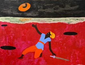A Spiritual Declaration, Under the weight of it all by Cassi Namoda contemporary artwork