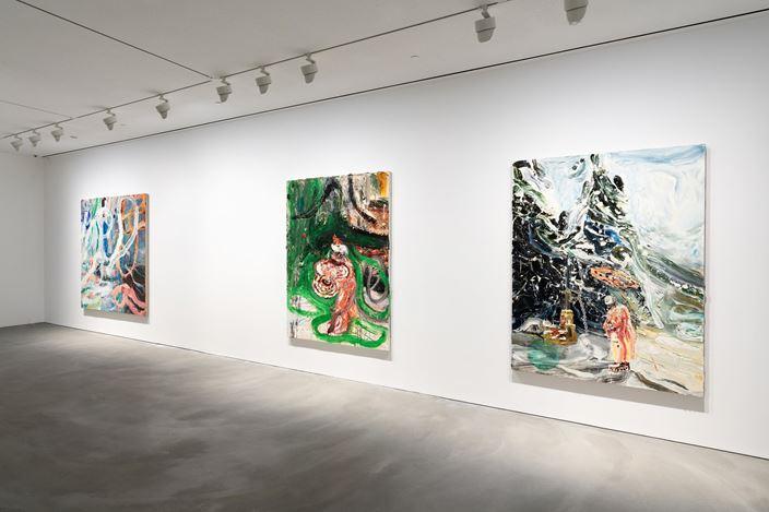 Exhibition view: Group Exhibition,Zhang Xiaogang, Mao Yan, Qiu Xiaofei, Pace Gallery, Hong Kong (22 November–21 December 2019). © Zhang Xiaogang; Mao Yan; Qiu Xiaofei. Courtesy Pace Gallery.