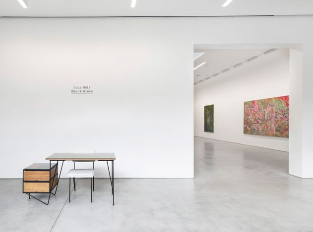 Exhibition view: Lucy Bull, Skunk Grove,David Kordansky Gallery, Los Angeles (20 March–1 May 2021). CourtesyDavid Kordansky Gallery. Photo: Jeff McLane.