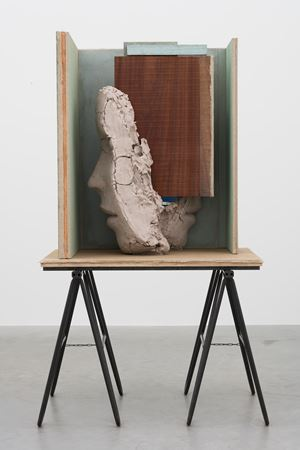 Double Head with Blue Paintings by Mark Manders contemporary artwork