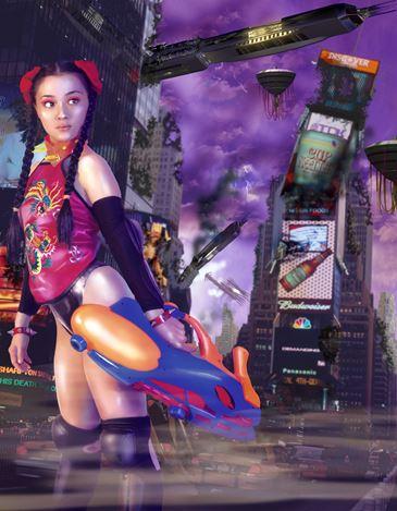 洪東祿, 阿修羅-時代廣場, 2001-2007, 3D Photo, 3D Grid, Light Box, 180x140x12 cm