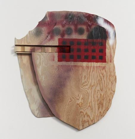 Richard Tuttle, Silhouette. Opportunity (2019). Fir plywood, lattice strip. glue, nails, spray paints. 33 × 30 × 2 inches / 83.8 cm × 76.2 cm × 5.1 cm. ©Richard Tuttle. Courtesy Pace Gallery.