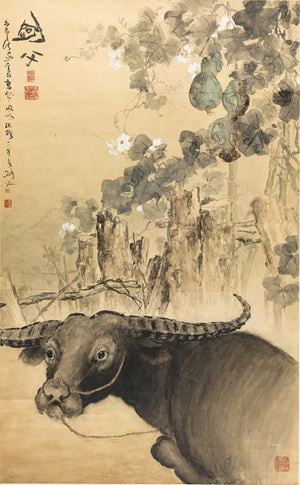 Buffalo by Gao Jianfu contemporary artwork