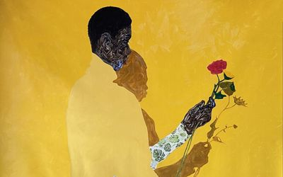 Amoako Boafo, MONSTERA LEAF SLEEVES(2021). Oil and paper transfer on canvas. 210 x 180 cm. Courtesy Roberts Projects.