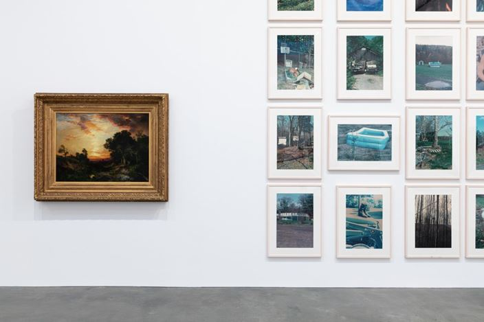 Exhibition view: Group Exhibition, American Pastoral, Gagosian, Britannia Street, London (23 January–14 March 2020). Artwork, left to right: © Thomas Moran, © Richard Prince. Courtesy Gagosian. Photo: Lucy Dawkins.