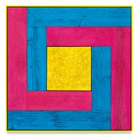 Untitled (Tree Painting-Double L, Blue, Pink, and Yellow) by Douglas Melini contemporary artwork painting