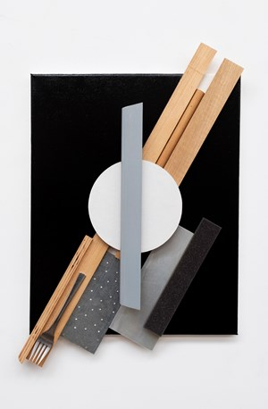 Untitled (Black Diagonal Konstruction with Fork) by John Nixon contemporary artwork
