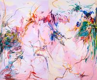 A dance to fly in the blossoming trees by Wang Xiyao contemporary artwork painting, drawing