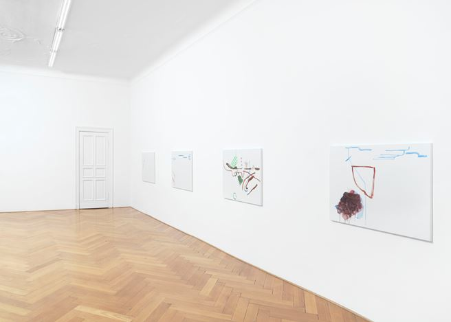 Exhibition view: Michael Krebber,Wirklichkeit erschlägt Kunst, Galerie Buchholz, Berlin (26 April–15 June 2019). Courtesy Galerie Buchholz.