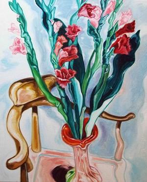Gladiolus and Pleione 劍蘭,葉蘭 by Lu Hao-Yuan contemporary artwork